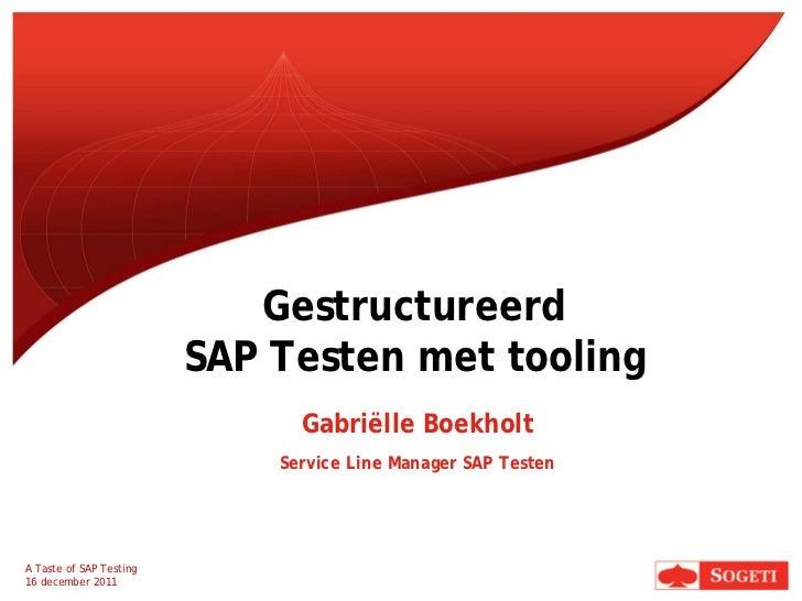 Gestructureerd                         SAP Testen met tooling                               Gabriëlle Boekholt            ...
