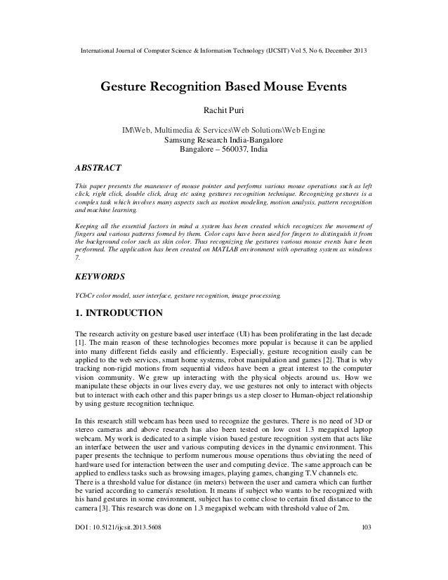 International Journal of Computer Science & Information Technology (IJCSIT) Vol 5, No 6, December 2013  Gesture Recognitio...