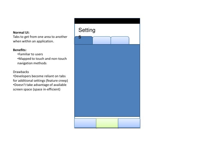 Settings<br />Normal UI:<br />Tabs to get from one area to another when within an application.<br />Benefits:<br /><ul><li...