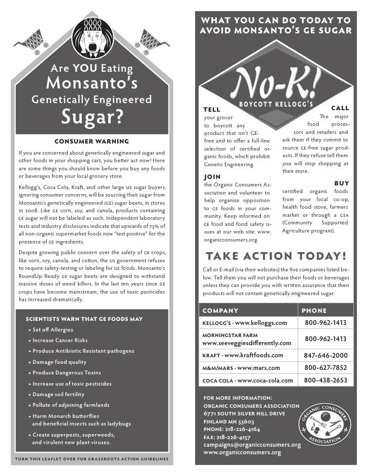 What you can do Today to                                                                  avoid Monsanto's ge sugar       ...
