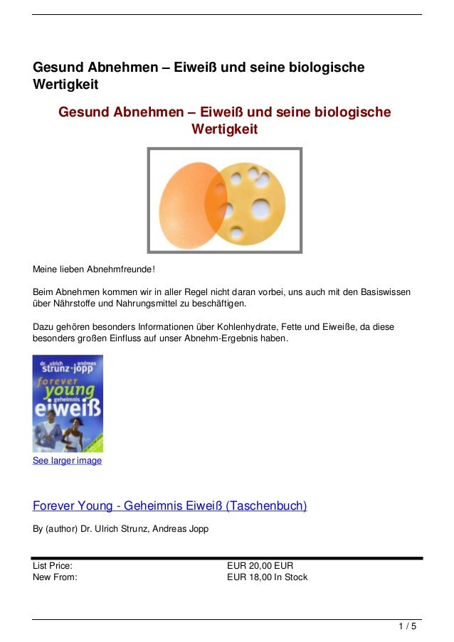 Gesund Abnehmen – Eiweiß und seine biologischeWertigkeit      Gesund Abnehmen – Eiweiß und seine biologische              ...