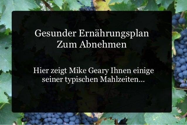 Gesunder Ernährungsplan    Zum AbnehmenHier zeigt Mike Geary Ihnen einige  seiner typischen Mahlzeiten...