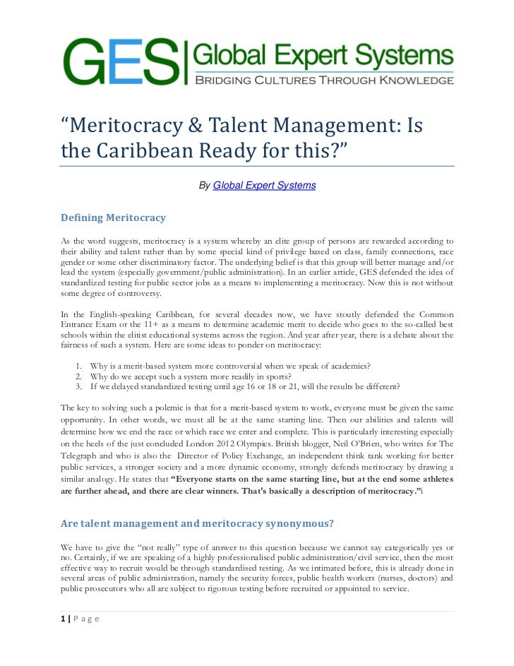 """""""Meritocracy & Talent Management: Isthe Caribbean Ready for this?""""                                       By Global Expert ..."""