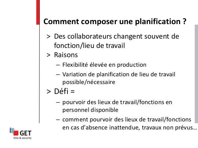 > Des collaborateurs changent souvent de fonction/lieu de travail > Raisons – Flexibilité élevée en production – Variation...