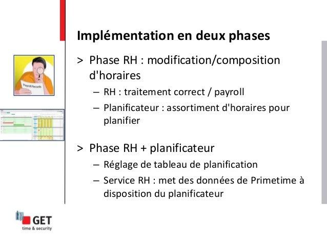 > Phase RH : modification/composition d'horaires – RH : traitement correct / payroll – Planificateur : assortiment d'horai...