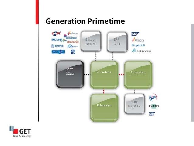 Generation Primetime ERP log. & fin. Primecost Primeplan Gestion salaire ERP GRH GET XCess Primetime