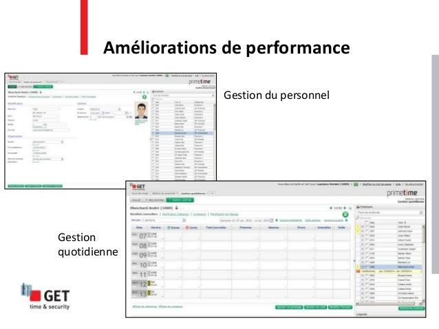 Améliorations de performance Gestion du personnel Gestion quotidienne