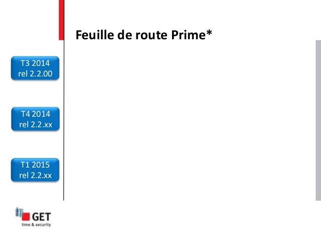 Feuille de route Prime* T3 2014 rel 2.2.00 T4 2014 rel 2.2.xx T1 2015 rel 2.2.xx