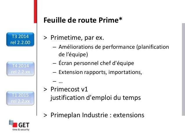 > Primetime, par ex. – Améliorations de performance (planification de l'équipe) – Écran personnel chef d'équipe – Extensio...
