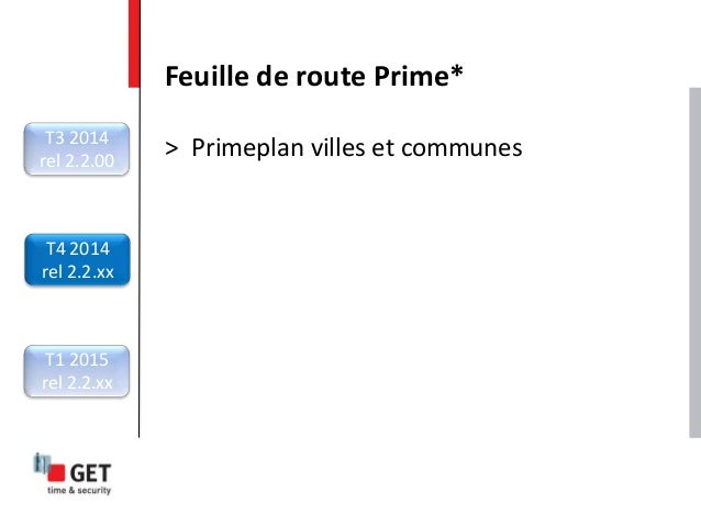 > Primeplan villes et communes Feuille de route Prime* T3 2014 rel 2.2.00 T4 2014 rel 2.2.xx T1 2015 rel 2.2.xx