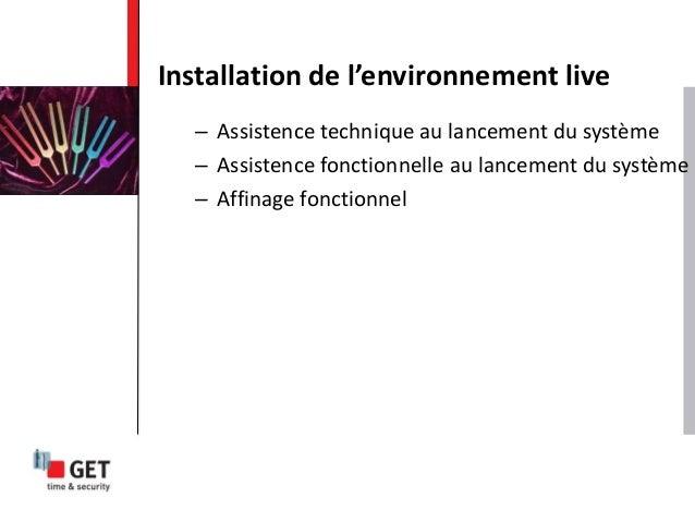 – Assistence technique au lancement du système – Assistence fonctionnelle au lancement du système – Affinage fonctionnel I...