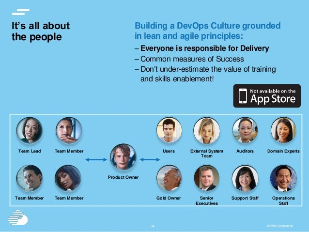 3434 © IBM Corporation It's all about the people Building a DevOps Culture grounded in lean and agile principles: – Everyo...