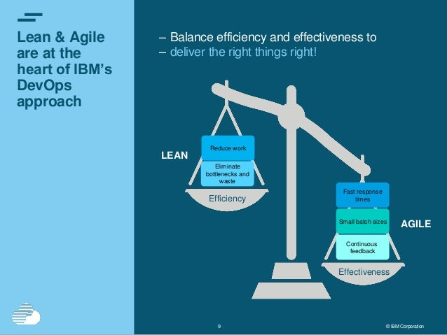 99 © IBM Corporation Lean & Agile are at the heart of IBM's DevOps approach – Balance efficiency and effectiveness to – de...