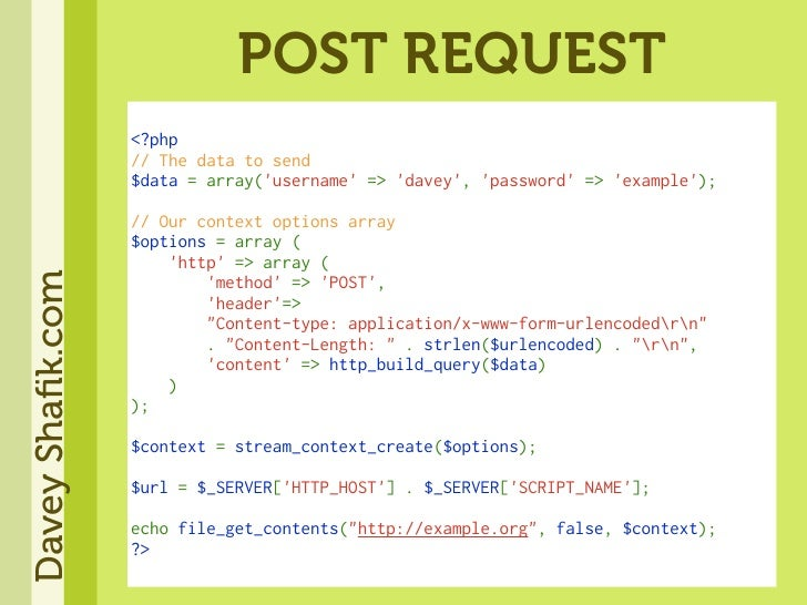 POST REQUEST                   <?php                   //Thedatatosend                   $data=array('username'=>'...