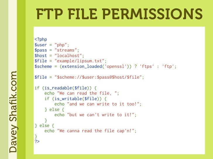 FTP FILE PERMISSIONS                   <?php                   $user=quot;phpquot;;                   $pass=quot;strea...
