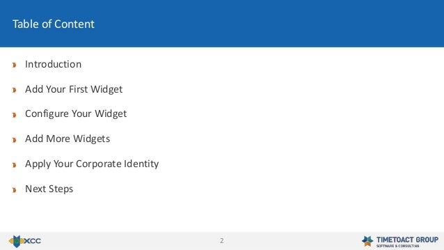 2 Introduction Add Your First Widget Configure Your Widget Add More Widgets Apply Your Corporate Identity Next Steps Table...