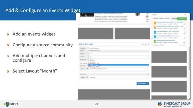 2424 Add & Configure an Events Widget Add an events widget Configure a source community Add multiple channels and configur...