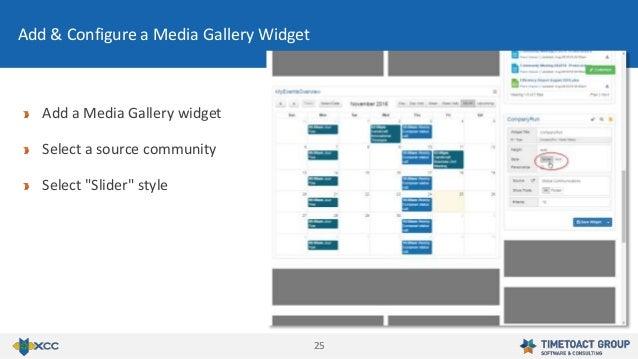 "2525 Add & Configure a Media Gallery Widget Add a Media Gallery widget Select a source community Select ""Slider"" style"