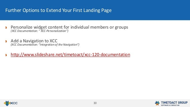 3030 Further Options to Extend Your First Landing Page Personalize widget content for individual members or groups (XCC Do...