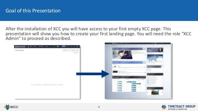 44 Goal of this Presentation After the installation of XCC you will have access to your first empty XCC page. This present...