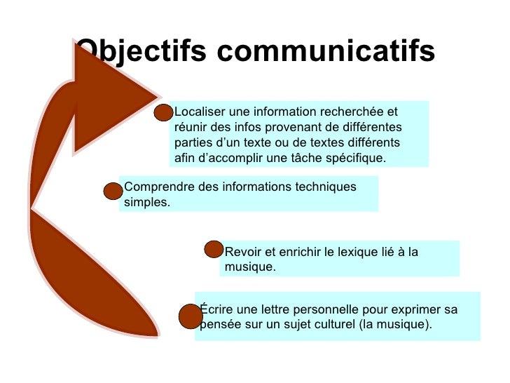 Objectifs  communicatifs   Écrire une lettre personnelle pour exprimer sa  pensée sur un sujet culturel (la musique).   Lo...