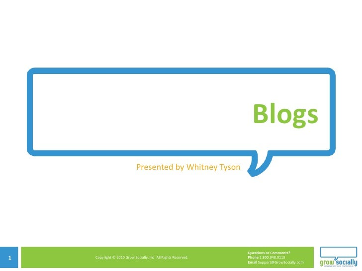 Blogs Presented by Whitney Tyson