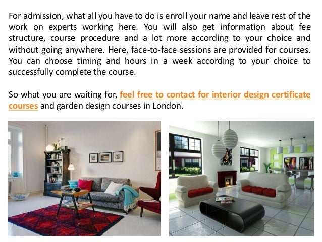 Get Admission in Interior Design Certificate Courses in London