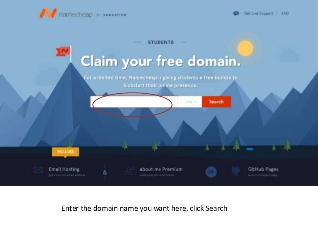 Enter the domain name you want here, click Search