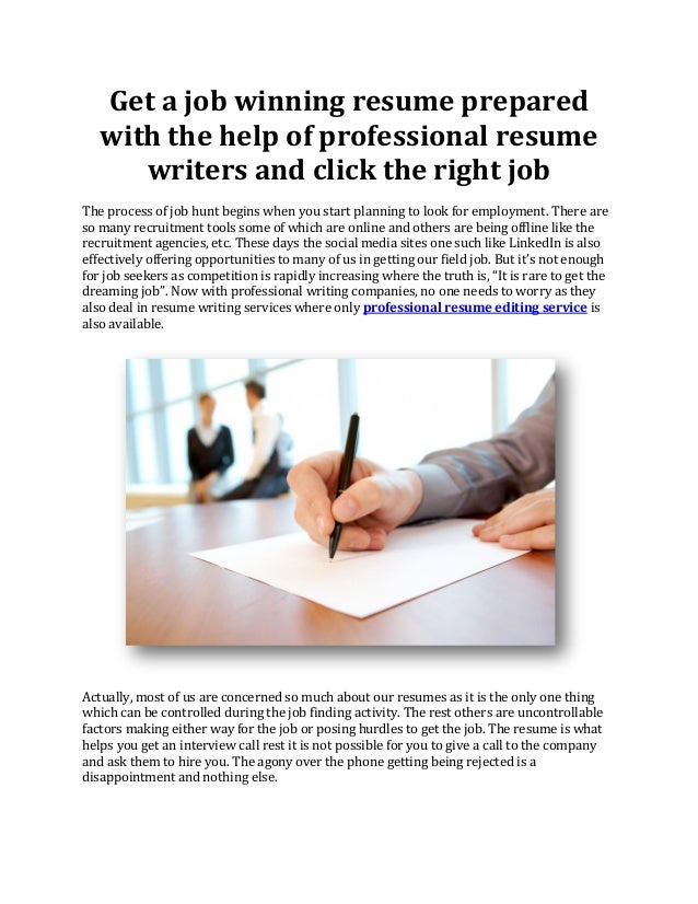 get a job winning resume prepared with the help of professional resume writers and click the - Get A Professional Resume