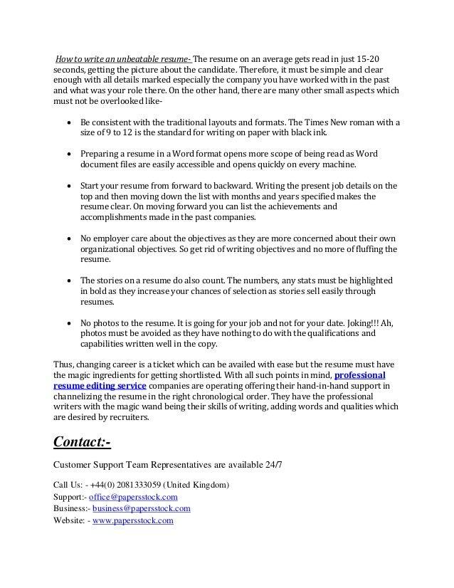 how to write a job winning resume