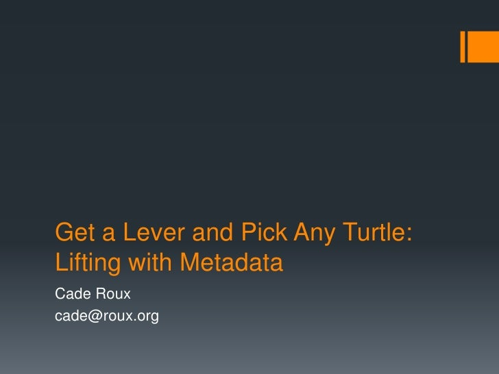 Get a Lever and Pick Any Turtle:Lifting with Metadata<br />Cade Roux<br />cade@roux.org<br />