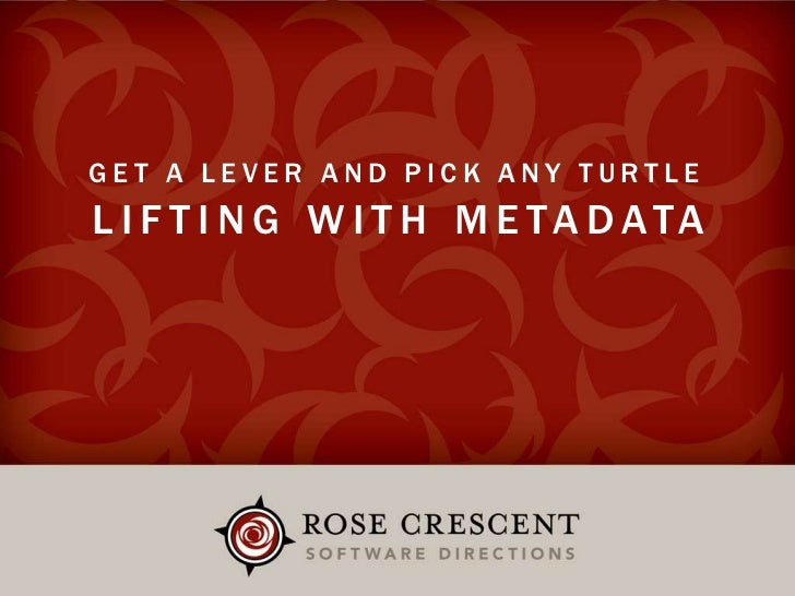 Get a Lever and Pick Any Turtle<br />Lifting With Metadata<br />