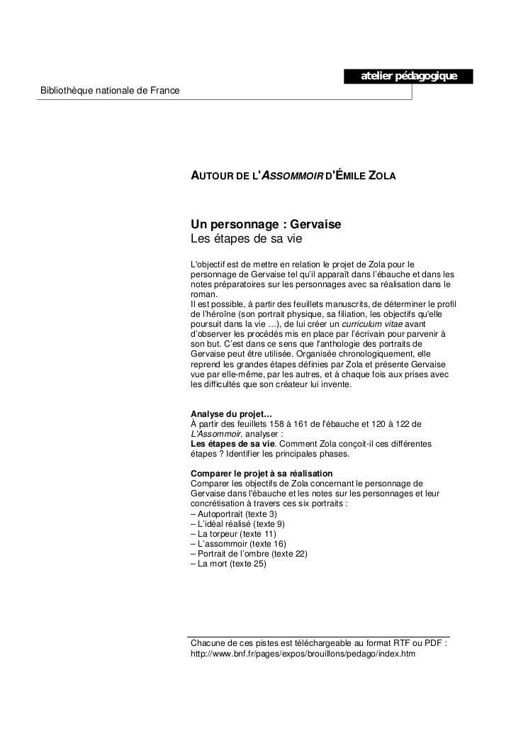 atelier pédagogiqueBibliothèque nationale de France                                   AUTOUR DE LASSOMMOIR DÉMILE ZOLA    ...