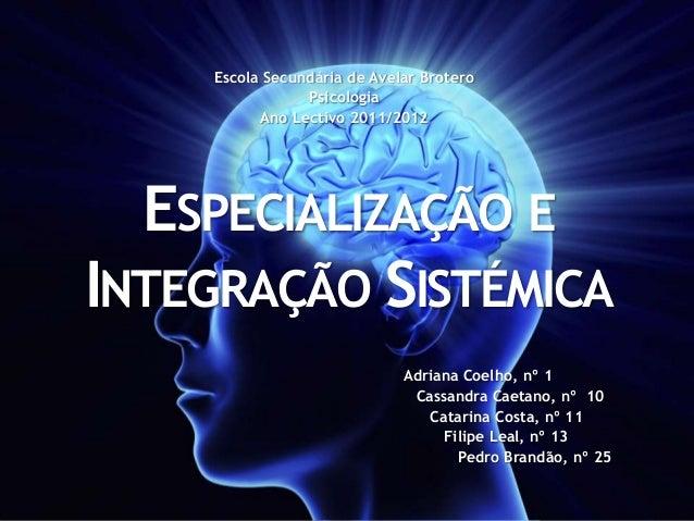Escola Secundária de Avelar Brotero                Psicologia          Ano Lectivo 2011/2012  ESPECIALIZAÇÃO EINTEGRAÇÃO S...