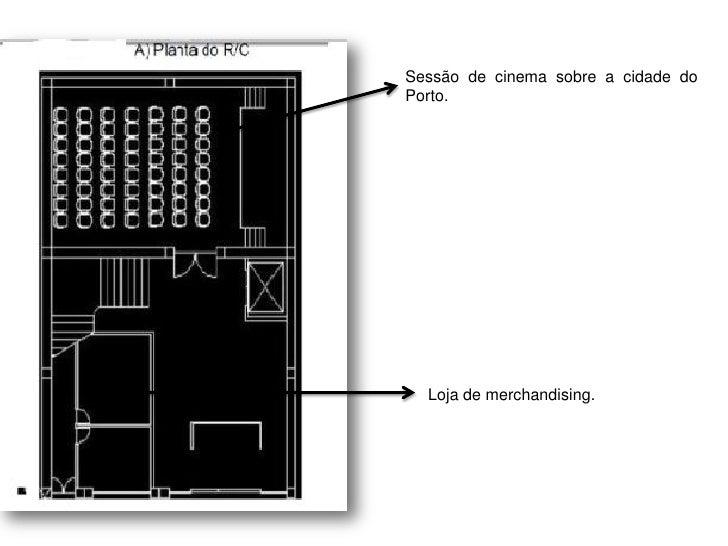 """Sessão de cinema sobre""""A cidade do Porto"""".       Loja de merchadising."""
