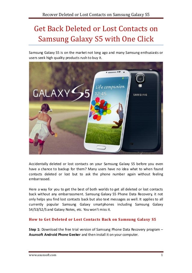 how to get your contacts back on iphone get back deleted or lost contacts on samsung galaxy s5 20896
