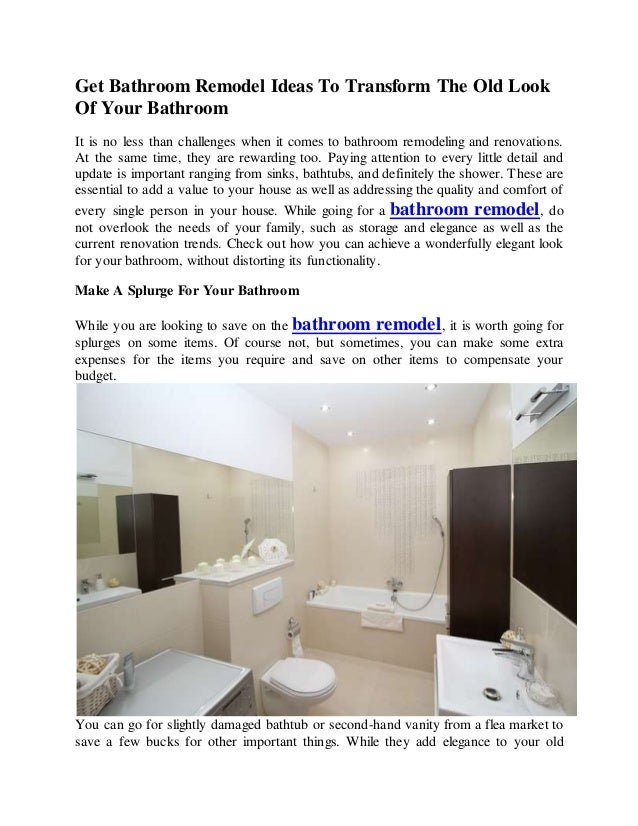 Get Bathroom Remodel Ideas To Transform The Old Look Of Your Bathroom