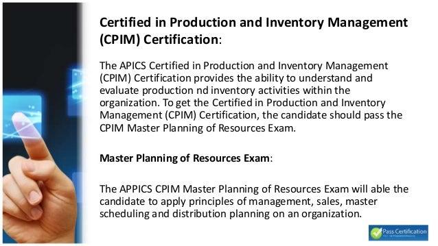 APICS CPIM SMR (Strategic Management of Resources)
