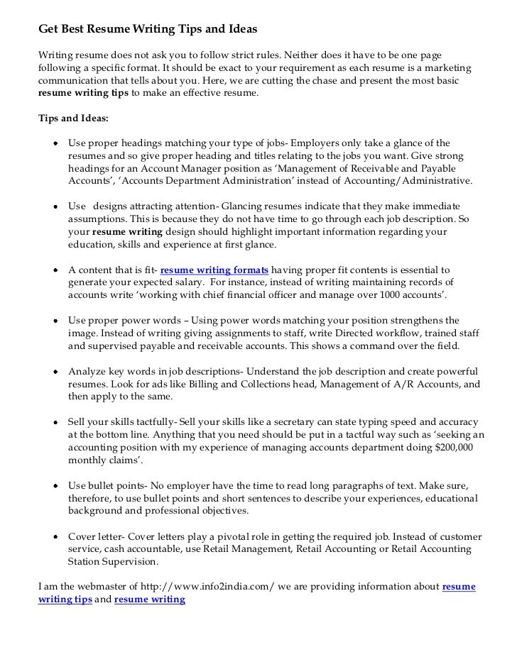 Get Best Resume Writing Tips And IdeasWriting Resume Does Not Ask You To  Follow Strict Rules
