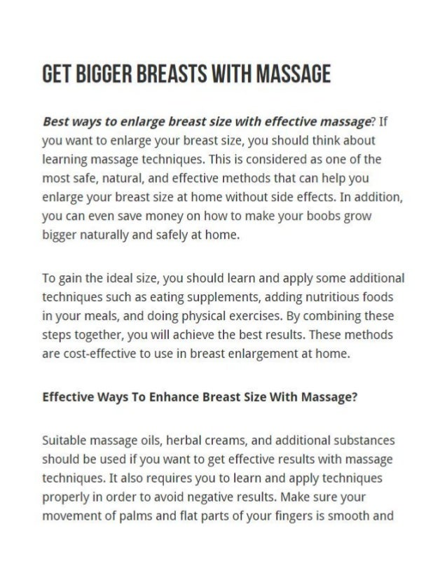 Get Bigger Breasts With Massage