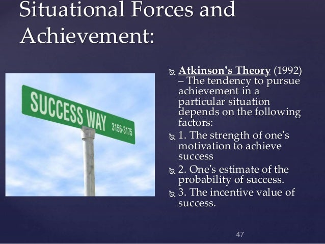 atkinson s achievement motivation theory and its The relationship of achievement motivation to entrepreneurial behavior: a meta-analysis abstract entrepreneurship is a major factor in the national economy thus, it.