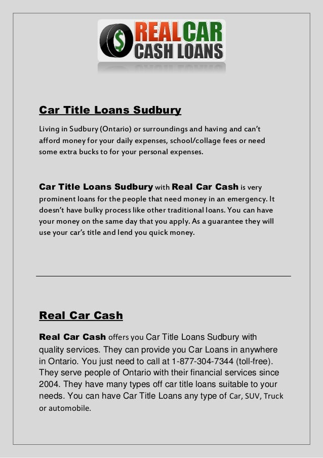 Need A Car Sudbury >> Get Car Title Loans Sudbury Approved In Minutes