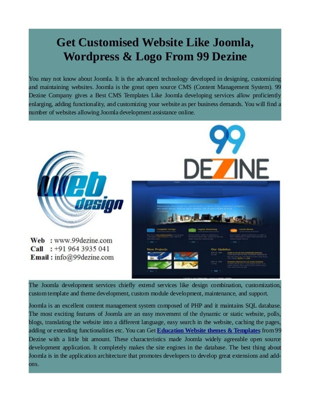 Get Customised Website Like Joomla, Wordpress & Logo From 99 Dezine