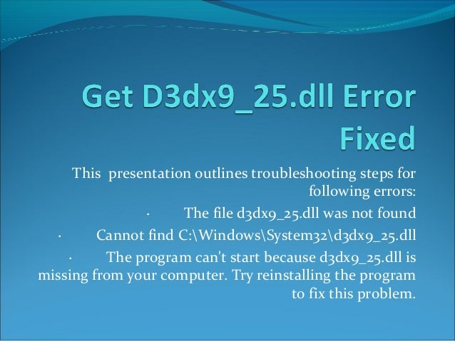 D3dx9 25.dll 2 available versions