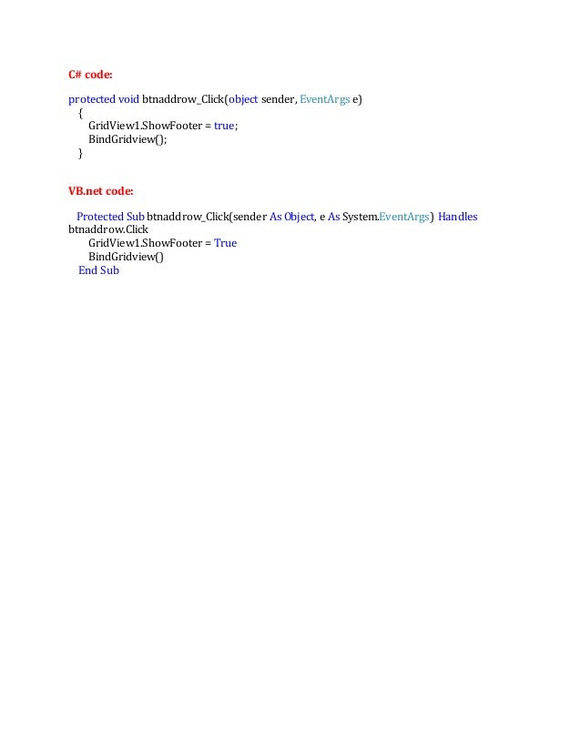 Add row in asp net Gridview on button click using C# and vb net