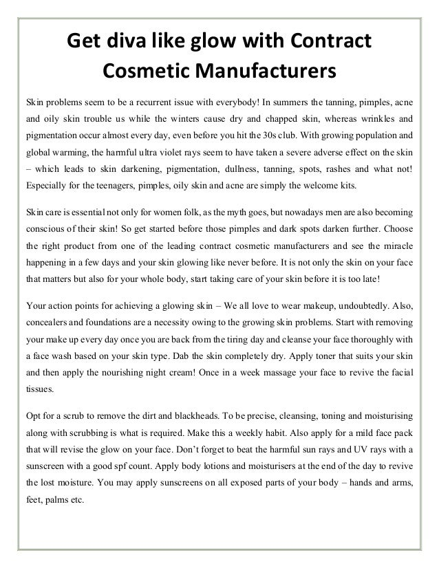 Get diva like glow with contract cosmetic manufacturers
