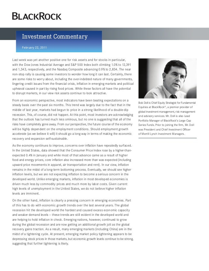 Investment Commentary       February 22, 2011Last week was yet another positive one for risk assets and for stocks in part...