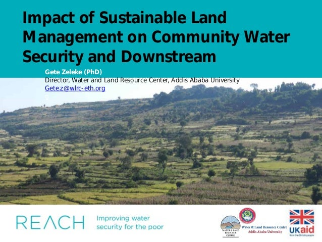 Impact of Sustainable Land Management on Community Water Security and Downstream Insert image here. Do not compress to fit...