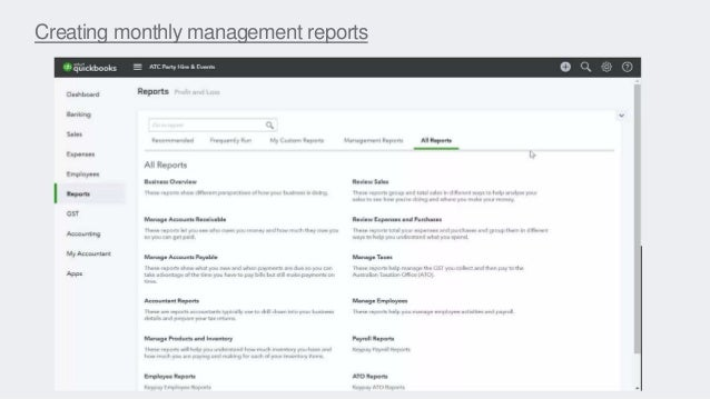 Creating monthly management reports