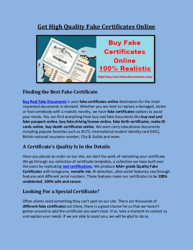 Get high quality fake certificates online